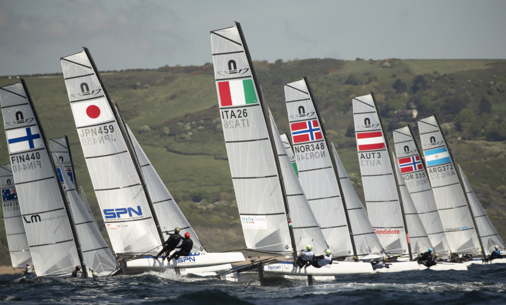 The Volvo 49er 49fx Nacra17 European Championship. Portland. Weymouth. UKPhoto credit Lloyd Images